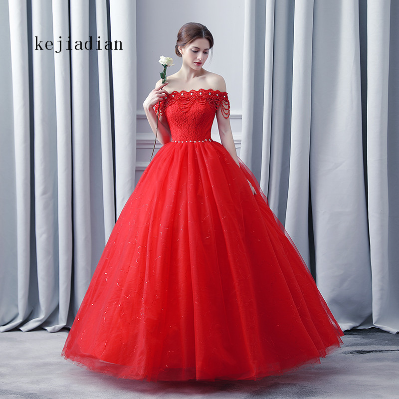 2019 Vintgae Ball Gowns red boat neck Wedding Dresses beading sexy Plus size Lace Appliques wedding gown Vestido De Noiva