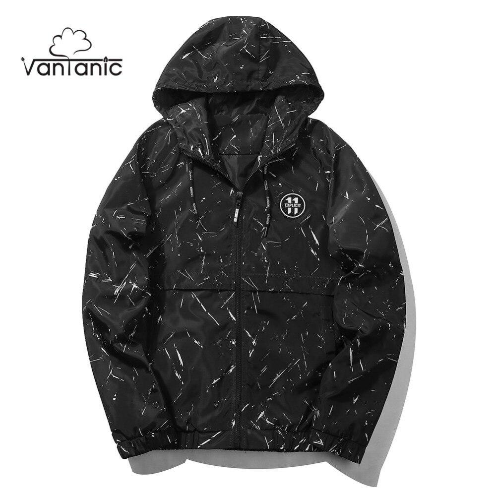 Vantanic abrigo hombres 2017 marca chaqueta de cremallera de los hombres con capucha de la moda poliéster impresión Chaquetas hombres tamaño UE htj74