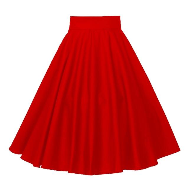 5a74c41b5 Vintage 1950s Plain Red Full Circle Knee Length Woman Skirt Gothic Midi  Cotton Basic Plus Size Skirts