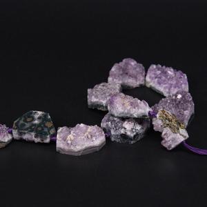 "Image 5 - 15.5""/strand Large Natural Amethysts Quartz Geode Druzy Slab Nugget Beads,Raw Roug Purple Crystal Drusy Slab Pendant DIY Jewelry"