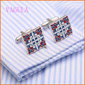 AAA Quality Enamel Cufflinks Silver Cuff links Brass Men French Shirt Cufflinks Gemelos Silver Cuffs Bouton Collar Studs V149