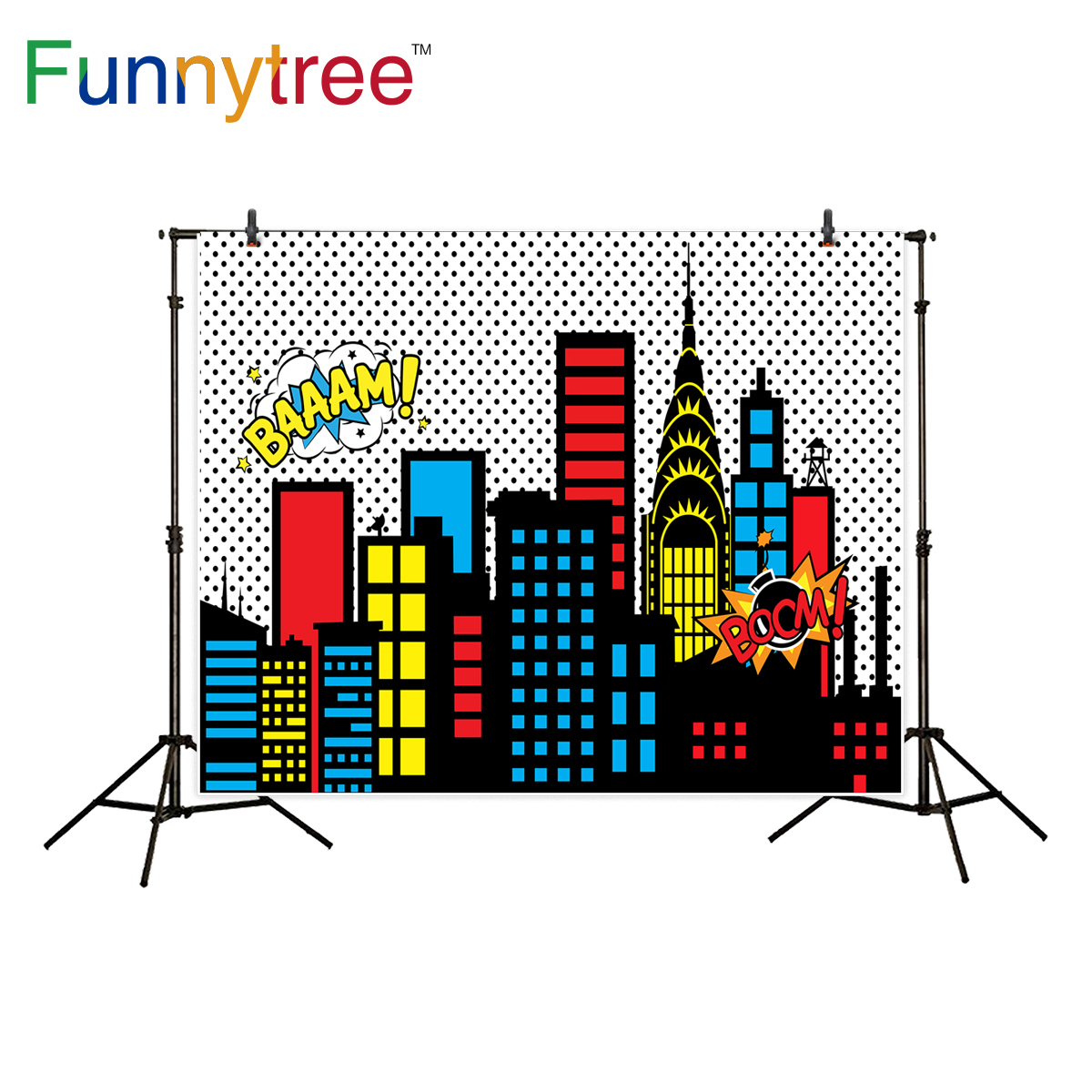 Funnytree background for photography superhero building kid birthday party illustration  backdrop photo studio photocall new