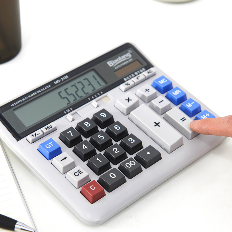 M&G Business Office Calculator Large Solar Dual Power Supply Keyboard Desktop Calculator