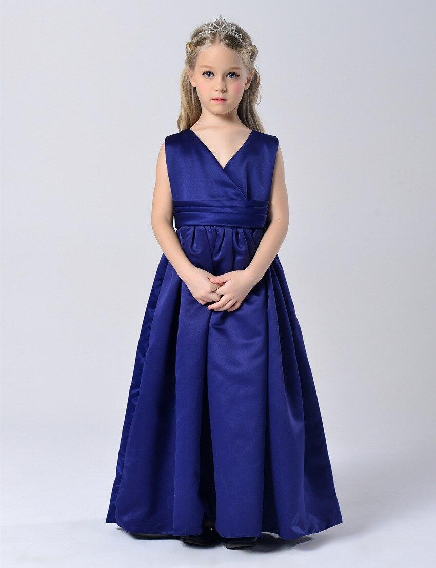 Aliexpress.com : Buy Fashion V neck royal blue kids formal pleated ...