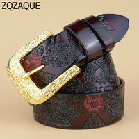 Quality Guaranteed 2018 Fashion New Men's Luxury Genuine Leather Belts Golden Dragon Pin Buckle Embossed Male's Waistband SY1546