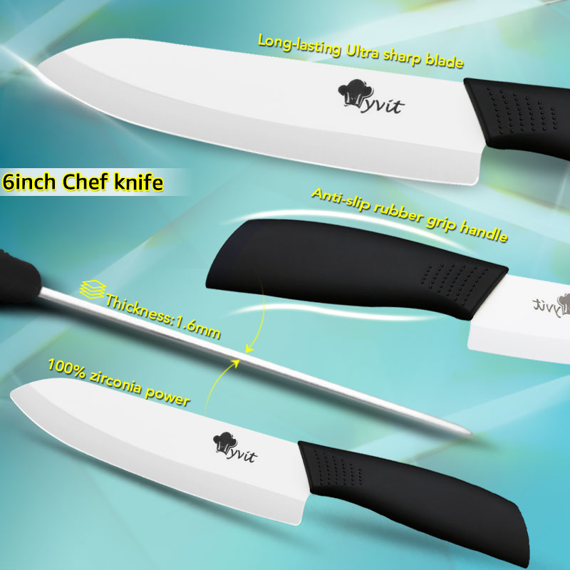 Ceramic Knives Kitchen knives 3 4 5 6 inch Chef knife Cook Set+peeler white zirconia blade Multi-color Handle High Quality 6