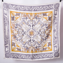 Women Silk Scarf Twill Square Bandana 90*90cm Brand Design Handmade Hemming Headband Hairband