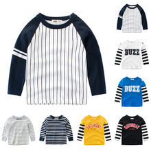 Kids Striped Pullover T-shirt Spring Autumn Boys Cotton Clothes Baby Casual Tops Tees Children T Shirt Letter Print Outerwear