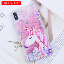 hot deal buy unicorn case for iphone x 7 8 plus 6 6s xr xs max se 5 5s quicksand liquid cover for iphone 7 plus xr xs max soft silicone case