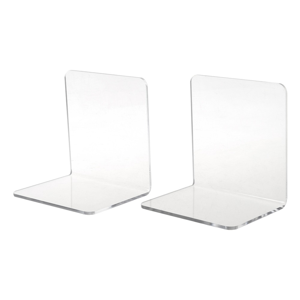 Clear Acrylic Bookends L-shaped Desk Organizer Desktop Book Holder School Stationery Office Accessories 2Pcs