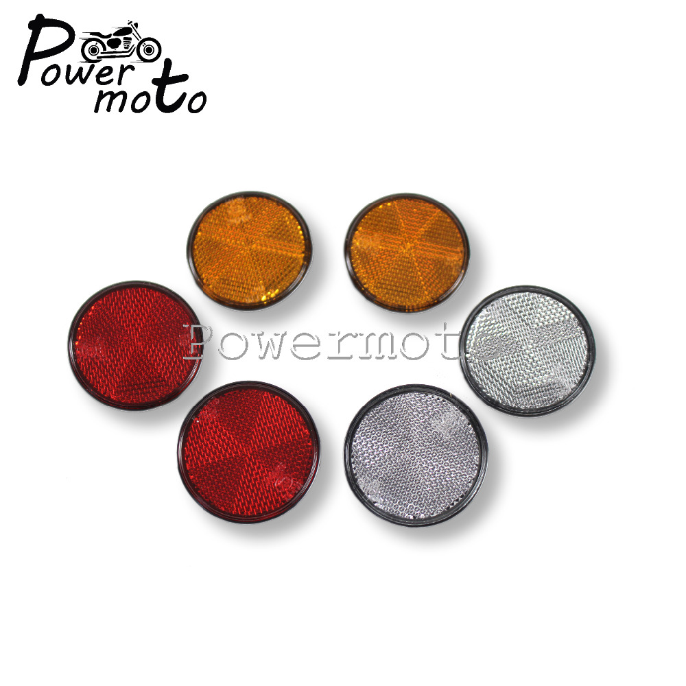 Motorcycle 5.8cm Round Red Amber White Decorative Round Reflective Plate Reflectors For Bicycle Moped Truck Trailer Bus Car image