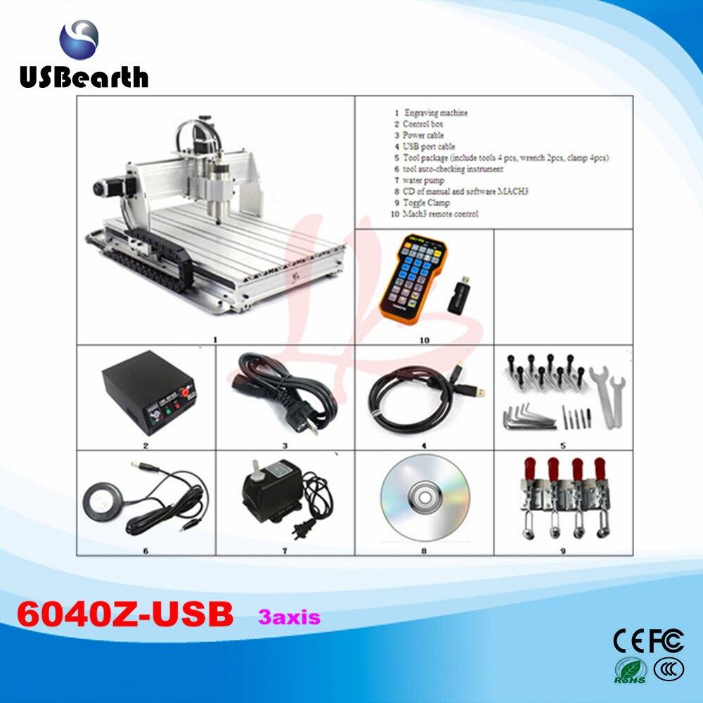2.2KW CNC Machine CNC 6040Z-USB Ball Screw Limit Swtich USB CNC Machinery with mach3 remote control, no tax to Russia