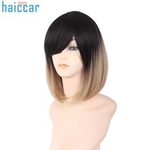 HAICAR Hairs Black Gray Synthetic Wigs for Women Sexy GradientBlack Gray Party Wigs Long Curly Hair Mixed Colors CosplayDev28(China)