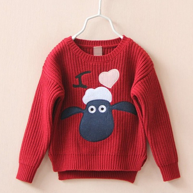 Cute Baby Girls Sweater 2017 Autumn Cartoon Casual Kids Clothes Knitwear Embroidered Sheep Heart Girls Sweater knitted