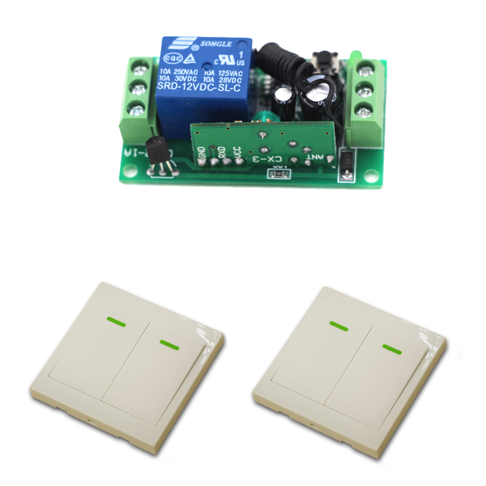 9V/12V/24V Remote Control Switch System 10A 1 Channel Receiver Wireless Relay Module + Wall Transmitter 315/433Mhz glukhar v