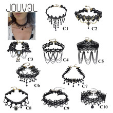 JOUVAL Collares Sexy Gothic Chokers Crystal Black Lace Hals Choker Ketting Vintage Victoriaanse Vrouwen Chocker Steampunk Sieraden(China)