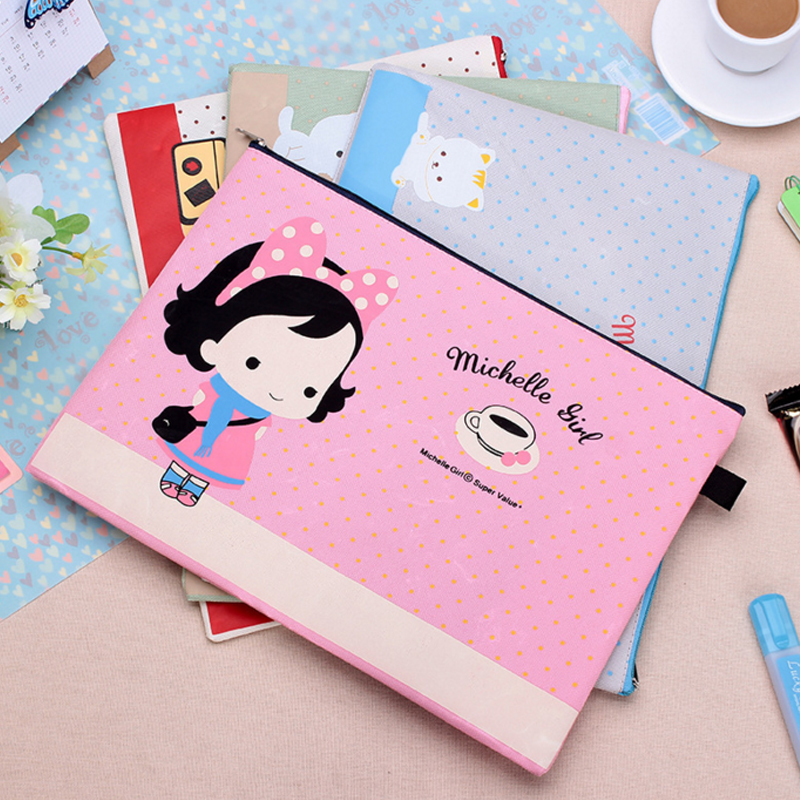 Kawaii Stationery Cute Michelle Girl A4 File Bag Document Bag Office & School Supplies Cartoon File Folder Filling Products premiun pp material black blue red green grey 30 40 60 page b4 file folder document filing bag school office supplies stationery