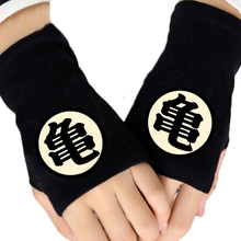 2016 Winter Cotton Glove Half Finger Anime Dragon Ball Cartoon Master Roshi Printing Black Mitten Gloves Unisex Cosplay Gift