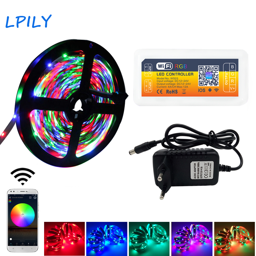 LPILY WIFI LED Strip 2835 RGB 5M 10M 20M Waterproof DiodeTape 15M LED Light Strips RF Remote Controller with DC 12V Power Supply nachtmann ваза art deko 24 см 82047 nachtmann