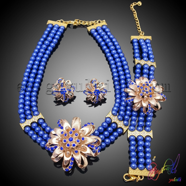 Free Shipping Yulaili Manual Factory Custom Sunflower Design Engagement Ladies Costume Two Beaded Jewelry Set free shipping yulaili artificial precious stone factory unique design women costume beaded jewelry set