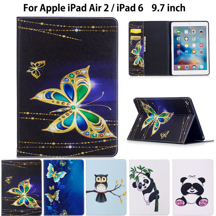 For iPad Air 2 ,Fashion Panda Owl Pattern Case For Apple iPad Air 2 iPad 6 Cover Smart Case Funda Tablet PU Leather Stand Shell наушники akg y20 белый y20wht