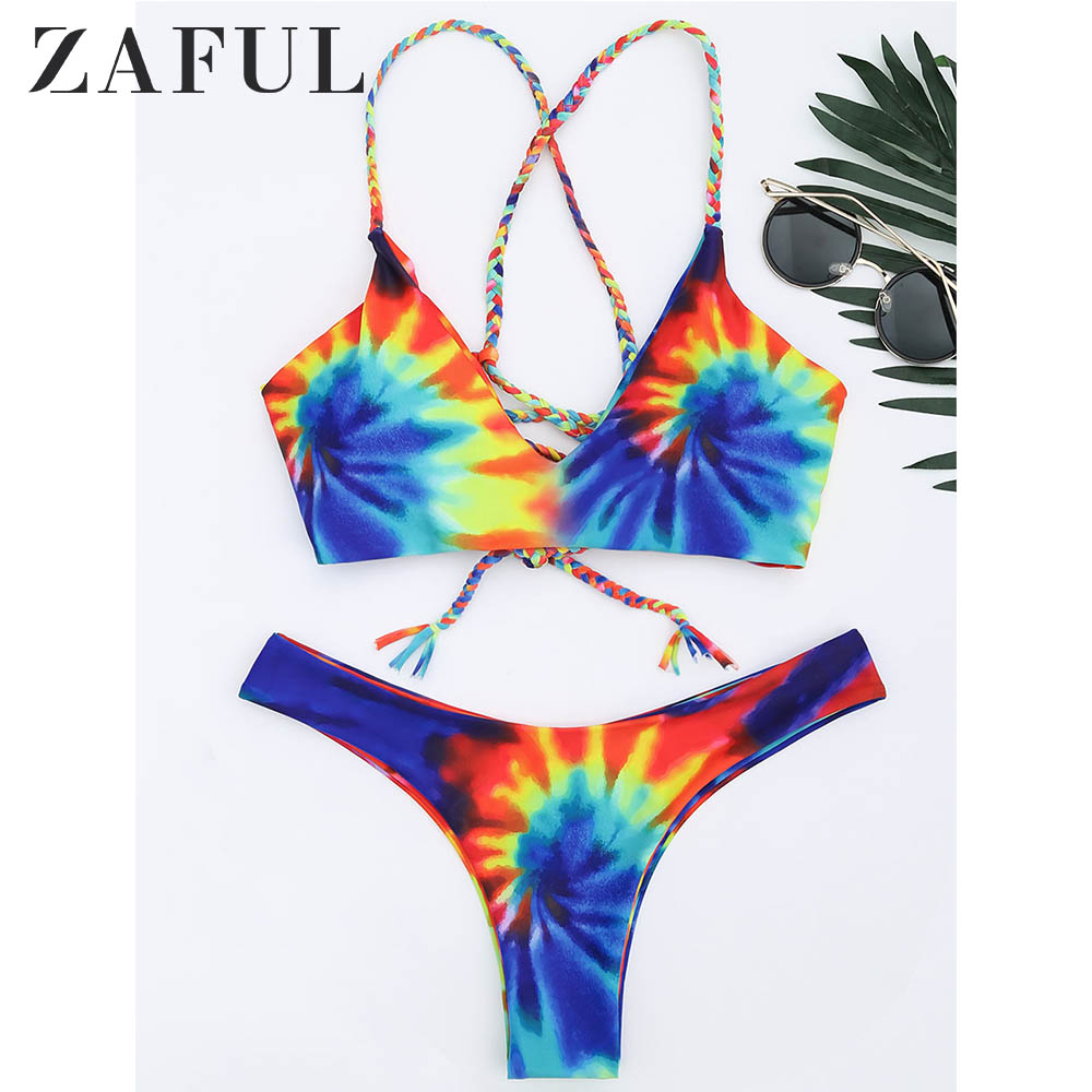 ZAFUL Bikini Tie Dye Braided Criss Cross Bikini Set Wire Free Spaghetti Straps Swimsuit Low Waisted Women Sexy Swimwear 2019