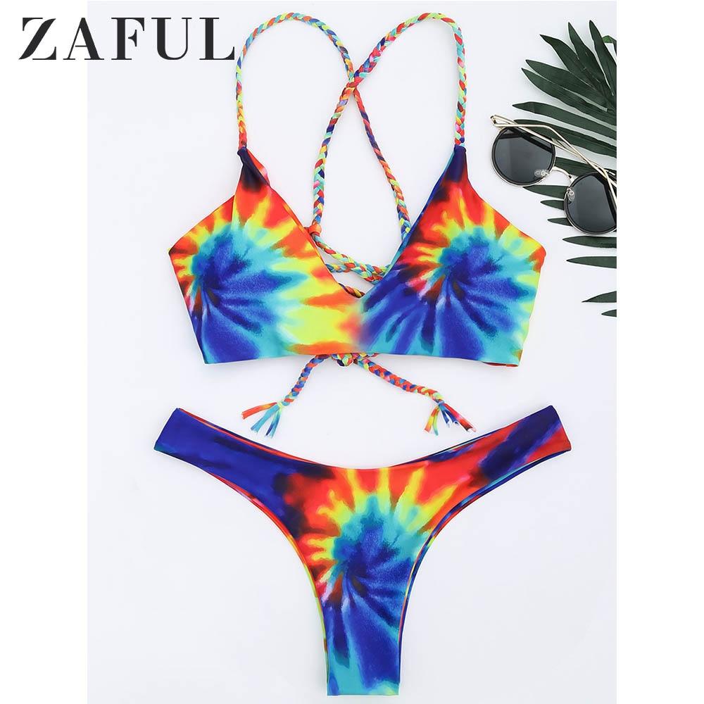 ZAFUL Bikini Tie Dye Braided Criss Cross Bikini Set Wire Free Spaghetti Straps Swimsuit Low Waisted Women Sexy Swimwear 2019