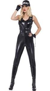 Image 2 - Costume de Police Sexy pour femmes, uniforme de Cosplay pour Halloween, 2020, combinaison de tireur délite, cuir synthétique polyuréthane noir