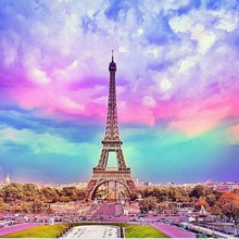 5D Eiffel Tower Diamond Painting Full Round Home Decor Paint Embroidery Kits Romantic Rainbow Cross Stitch Picture
