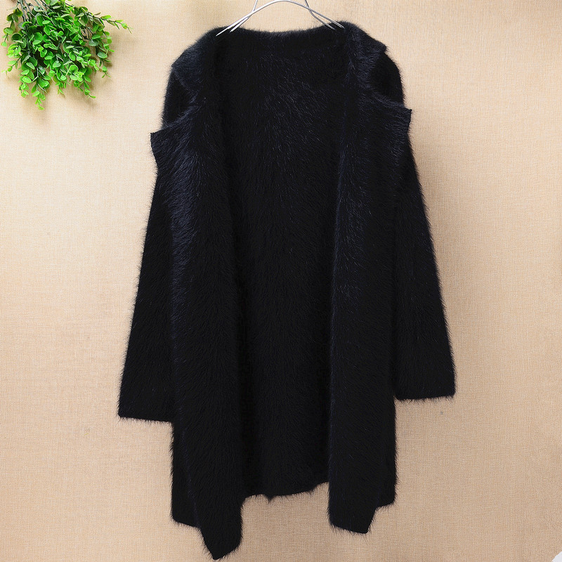 Fashion warm fluffy 100% mink cashmere tailored collar long cardigan Women loose long sleeves angora fur sweater coat winter