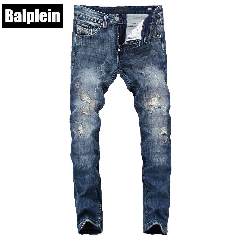 Italian Fashion Mens Jeans Pants Balplein Brand Blue Color Denim Stretch Skinny Ripped Jeans Destroyed Elastic Biker Jeans Men 2017 fashion patch jeans men slim skinny stretch jeans ripped denim blue pants new famous brand mens elastic jeans f701