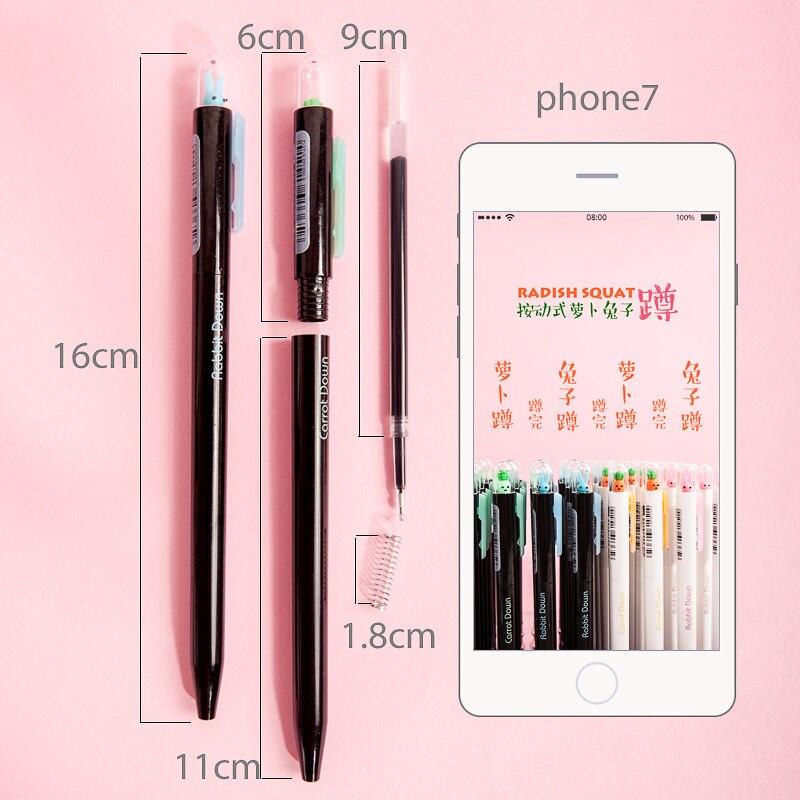 JIANWU 4pcs/set Cute cartoon Radish and rabbit gel pen modelling neutral pen school stationeries pens lot