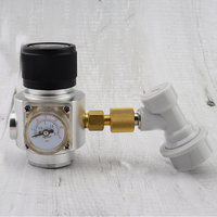 30PSI Mini CO2 Gas Regulator Keg Charger with 3/8'' Thread with Gas ball lock for Homebrew Beer Kegging