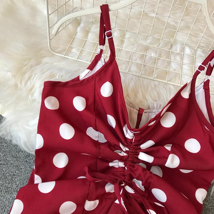 Women Beach Red Dress 2019 Summer New Seaside Holiday Sleeveless Dot Print Casual Vestidos E496 59