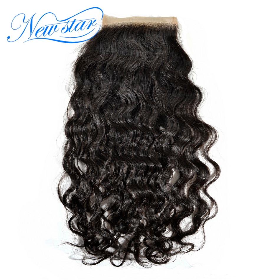 Guangzhou New Star cabelo Virgem Onda Natural Brasileiro Do Cabelo Humano 4 ''x 4'' Laço Suíço Fechamentos Parte Livre Branqueada Knots Cor Natural