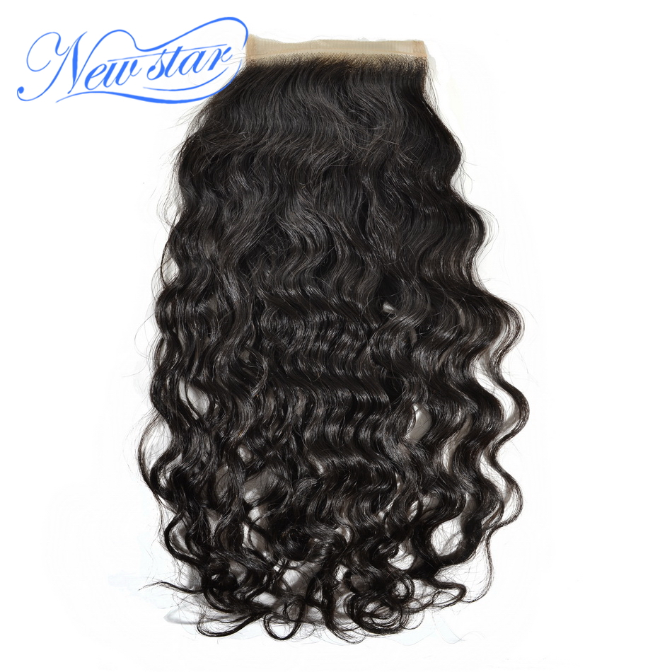 New Star Natural Wave 4X4 Swiss Lace Closure Free Part Bleached Knots Virgin font b Human