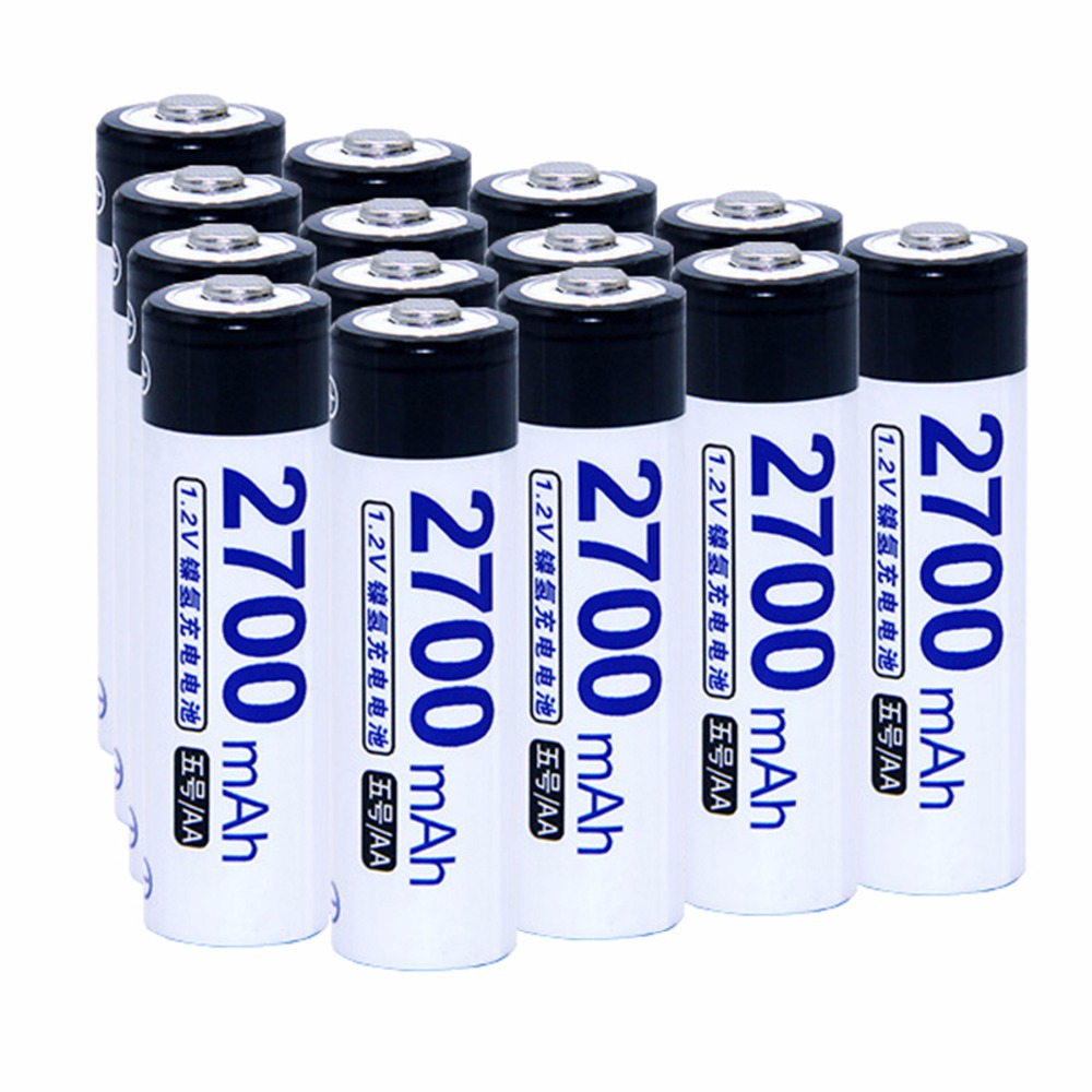 14 pcs AA portable 1.2V NIMH AA rechargeable batteries 2700mah for camera razor toy remote control flashlight 2A batterie