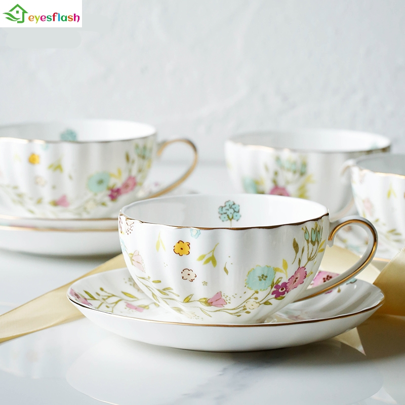Flower Pastoral Style Grace Top Grade Bone China Coffee Cup Set Ceramic Tea Mugs And Saucer Spoon Porcelain On-glazed