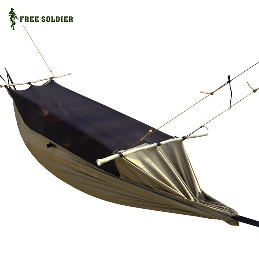 ФОТО FREE SOLDIER Military Hammock Tent With Anti Mosquito Net Mesh Portable For Camping Hiking Garden Tree Outdoor Fishing