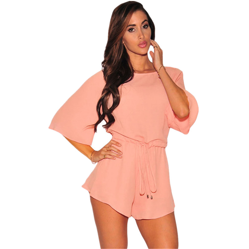 Cfanny 2016 Rompers Womens Jumpsuit Sexy Pink Drawstring Knot Open