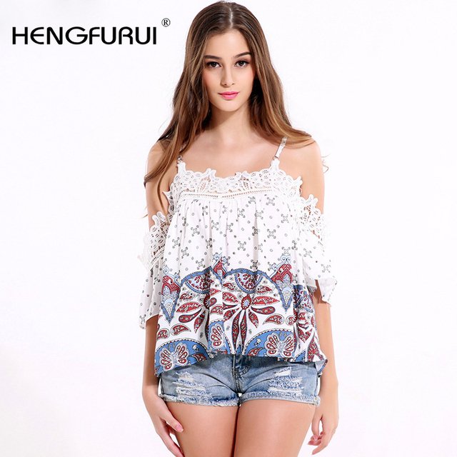 HENGFURUI 2016 Europe and the United States women 's loose lace short - sleeved strapless strapless shirt