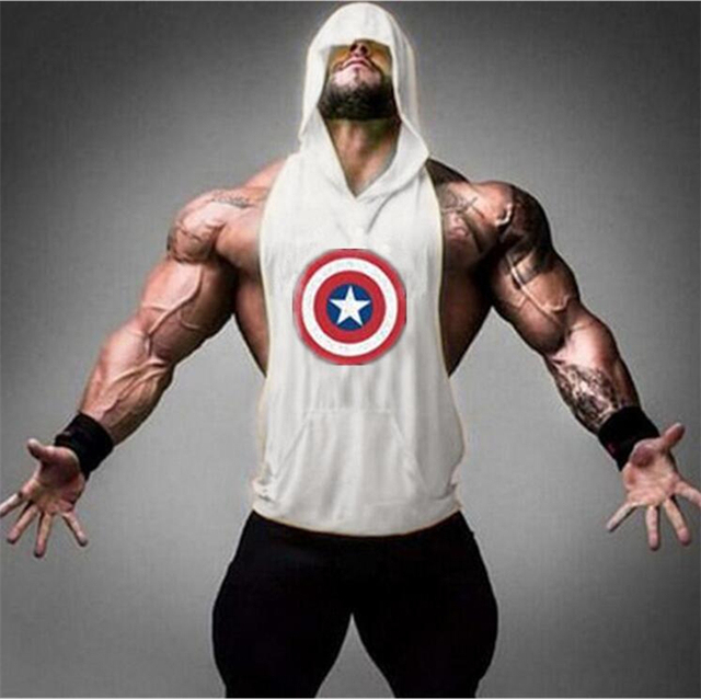 6ff3070b8f2ef2 Muscleguys Brand Captain America Hero Bodybuilding Stringer Hoodies Gyms  sleeveless Hoodie Fitness Tank Top Mens Clothing Cotton