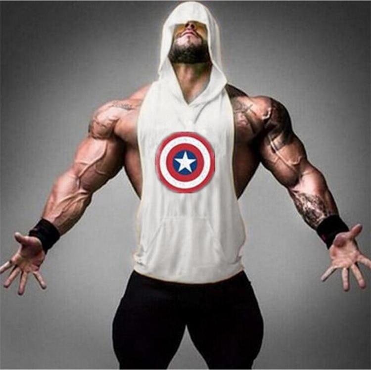 Muscleguys Brand Captain America Hero Bodybuilding Stringer Hoodies Gyms sleeveless Hoodie Fitness   Tank     Top   Mens Clothing Cotton