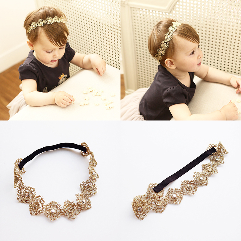2017 New Gold Lace Hollow Hairbands Girls Headwear Children Headbands Elastic Hair Band Kids Hair Accessories 10pcs sweet diy boutique bow headbands elastic head band children girl hair accessories headwear wholesale