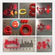 Chicago логотип спортивной команды печенья резак Красная звезда Skyline серии на заказ 3D печатных печенья набор форм для фондана форма для кекса