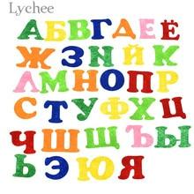 Lychee Life 33pcs Alphabet Felt Colorful Handmade Letter Pattern Felt DIY Sewing Crafts
