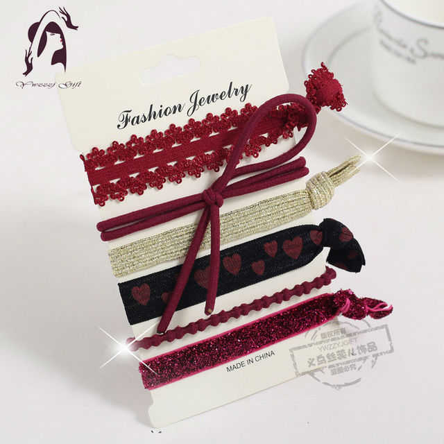 Trendy Elastic Women Hair Accessories-Tassel Hairbands- 5PCS/Pack