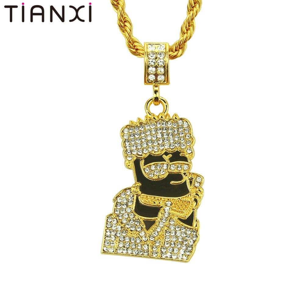 Hip Hop Head Necklace Pendant Men Jewelry Wholesale namel ...