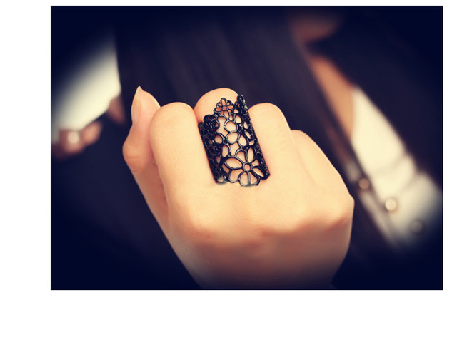 2016 summer style Hot Sale New arrival Women's cutout lace Hollow flower ring Opening Ring Adjustable size free shipping
