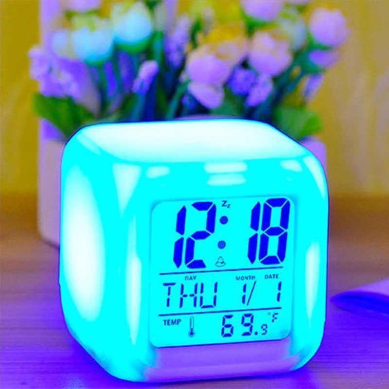 Светодиодный Будильник, 7 цветов, изменяющийся Цифровой настольный гаджет, цифровой будильник, термометр, светящийся куб-ночник светодиодный часы для дома TSLM1 BTZ1
